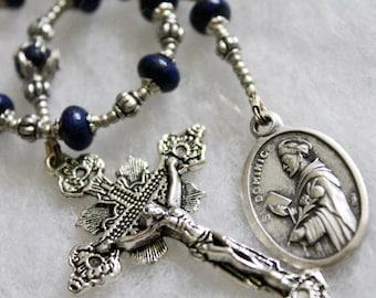 Lapis St. Dominic Tenner Rosary ; Catholic Prayer Beads; Handmade Rosary; pocket rosary; single decade rosary
