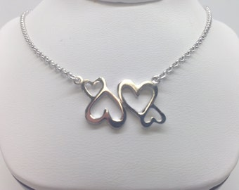 Lovely Hearts Necklace Sterling Silver 925 Rhodium Plated.