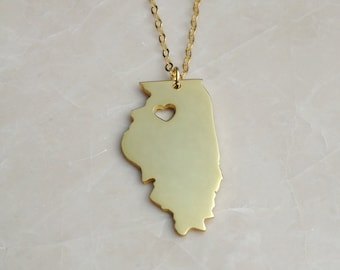 IL State Necklace,Illinois State Necklace,State Shaped Necklace Personalized State Necklace 925 Sterling Silver State Necklace With A Heart