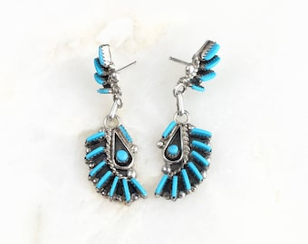 Vintage Sterling Zuni Petite Turquoise Earrings