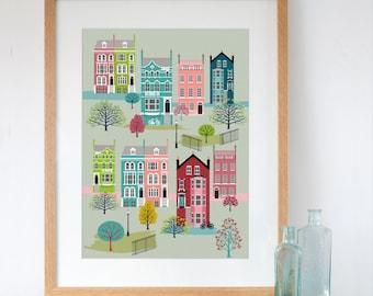 London Row Houses in Spring Art Print