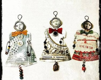Tin Art Doll Ornaments