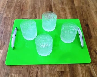 """Rectangular Serving Tray with Chrome Handles in Lime Green Gloss Finish 3mm Thick & Rubber Feet. Size 40cm x 30cm, 16"""" x 12"""""""