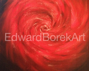 Black and red abstract acrylic painting