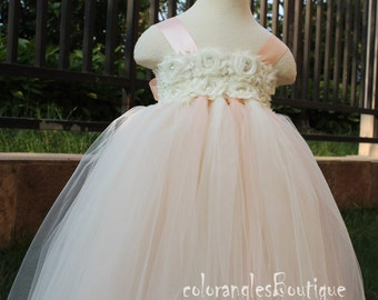 Flower Girl Dress Ivory Peach tutu dress baby dress toddler birthday dress wedding dress 1T 2T 3T 4T 5T 6T- 9T