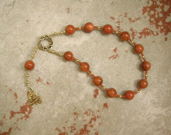 Hestia Pocket Prayer Beads in Goldstone: Greek Goddess of the Hearth, Home and Family, Household and Community.
