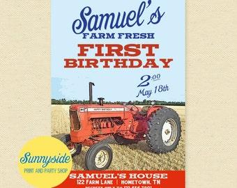 Vintage Tractor Birthday Invitation, Boys Birthday Party Invite, Farming, Farmer, Country - Printable invitation, 1st first, red, orange