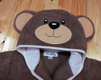 Personalized baby bathrobe, Brown  baby bathrobe, Teddy bear hood baby bathrobe,  Animal hood baby bathrobe, Baby shower gift, Brown teddy