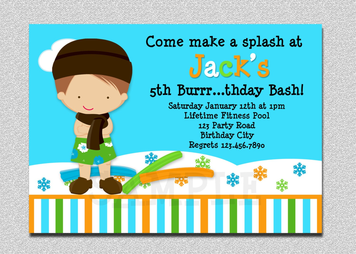 Indoor Pool Party Invitation Winter Pool Party Birthday