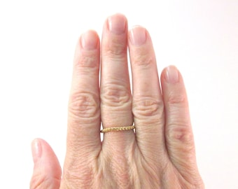 Skinny Gold Beaded Ring, Thin Line Skinny Peyote Seed Bead Ring, Thumb Toe or Pinky Ring, Stacking Ring