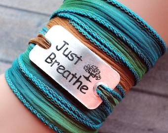 silk wrap bracelet- silk ribbon bracelet-boho-silk wrap-ruband de soie-seidenband-, Just breathe #156