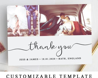 Thank You Photo Card Template (5x7) - DIY Wedding cards - Edit,Personalize & Print At Home (The One Collection)