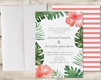 The Maui Wedding Invitation and RSVP Set, Tropical Wedding Invitations, Hawaii Wedding Invitations, Beach Destination Wedding Invitations