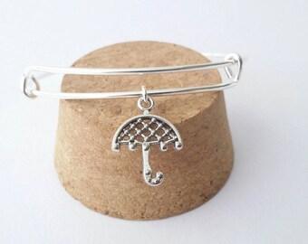 Rainy day umbrella silver charm bangle bracelet