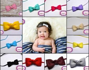 Baby Bow Headbands ~You Pick 5 Newborn Headbands - Small Headband Tiny Bow on Skinny Elastic - Girls Hair Bows - Baby Bowbands