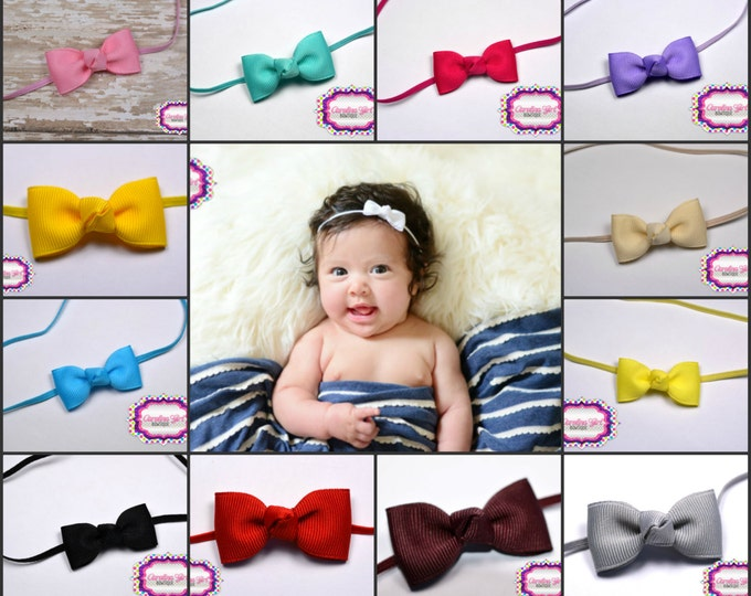 5 Tiny Bow Headbands - Small Headband Newborn Bows on Skinny Elastic - Girls Hair Bows - Baby Bowbands