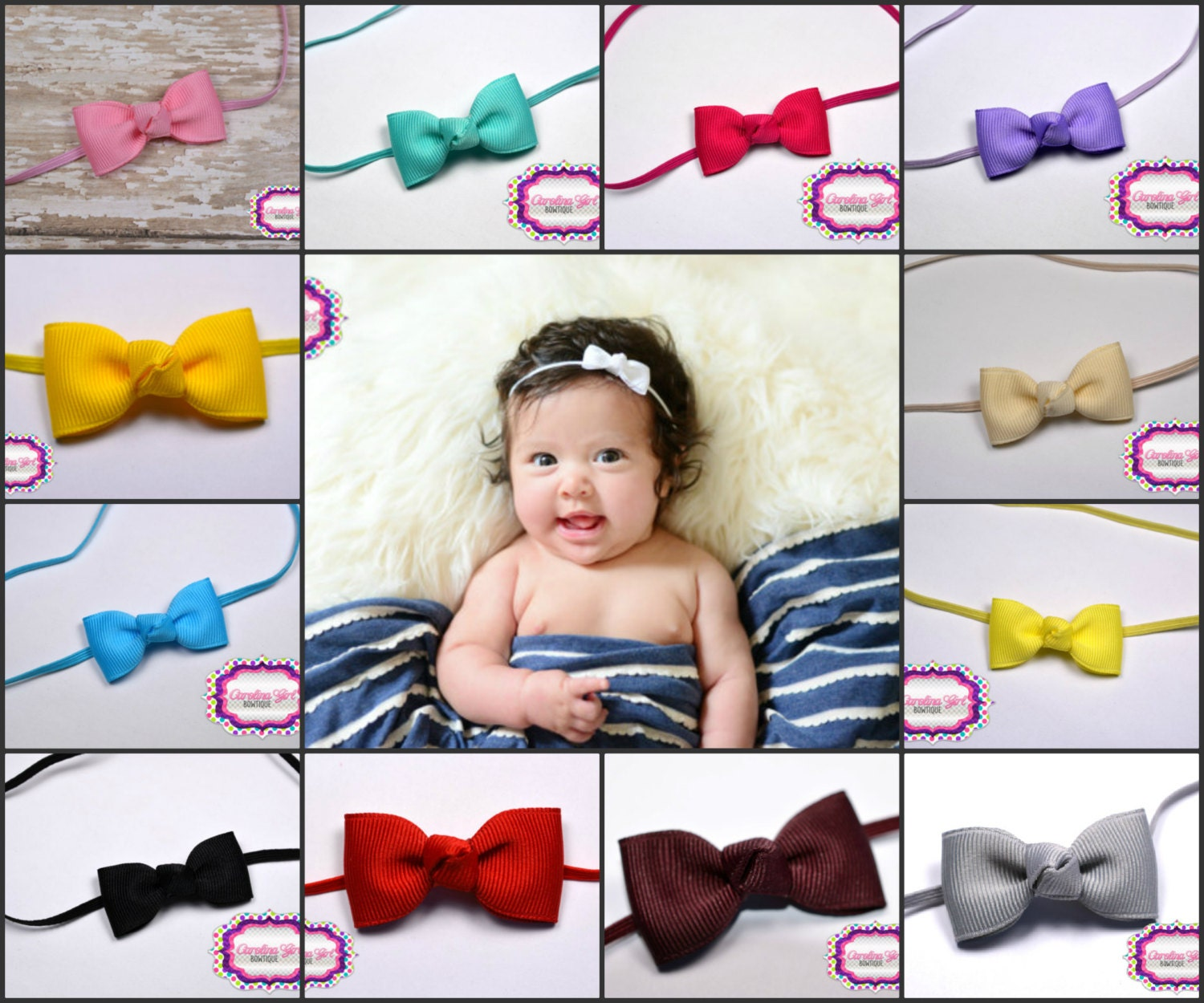baby bow headbands ~you pick 5 newborn headbands - small headband