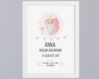 Birth announcement girl Unicorn - unframed art print