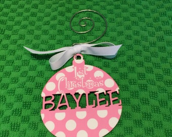 Holidays  Christmas  Ornament  Christmas Ornament  Wooden  Wood  Personalized  Baby girl 1st christmas  Laser Cut  Monogram