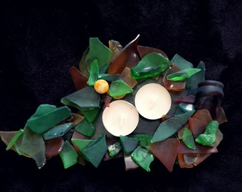 Nature Spill sea glass candle holder