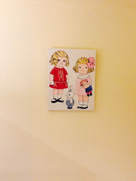 Fabric Paper Dolls Framed Canvas Dolly Dingle And Friends Wall