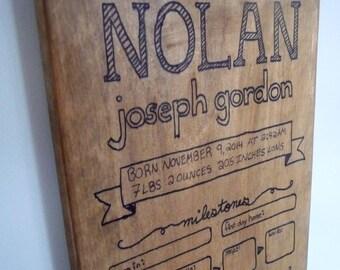 Custom // Growth Chart & Visual Baby Book, Wood Sign / Nursery Decor, Baby Gift / Family Present / Momento