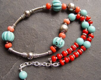 Cowgirl At Heart - Carved Turquoise, Coral, Sterling and Jade Necklace