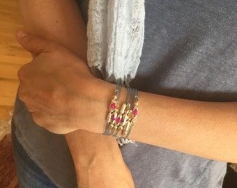 Womens Cuff Bracelet | Summer Kiss | Sterling Silver with Swarovski Crystals, Rubber Band, Womens Wrap Swarovski Bracelet, Water and Beach