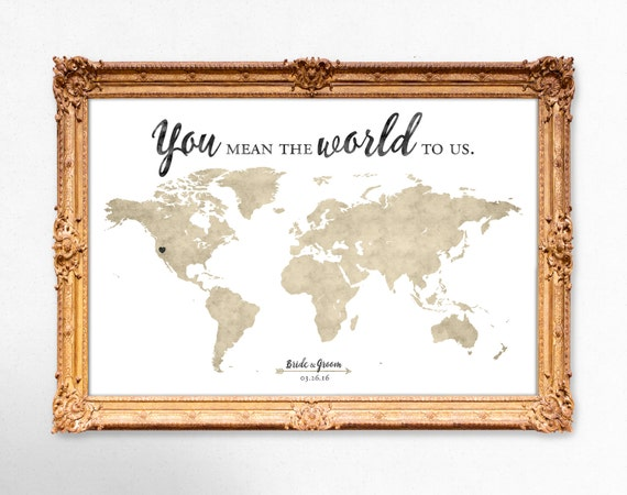 World map wedding guest book you mean the world to us gumiabroncs Choice Image