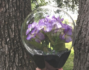 Vintage crystal boutique fresh flowers water globe , reusable water bubble , display cloche , mothers day gift idea
