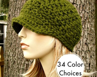 Olive Green Newsboy Hat Crochet Hat Womens Hat - Jockey Cap - Green Hat Green Beanie Crochet Newsboy Hat - Winter Hat - 34 Color Choices