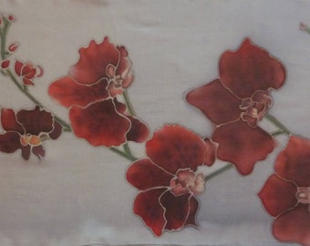 Scarf silk chiffon - red and black Orchid pattern - handrolled