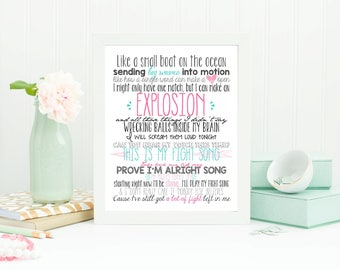 FIGHT SONG Rachel Platten Lyrics Print, Inspirational Quote, This is my Fight Song, Motivational Lyrics, Cancer Survivor, printable, pink