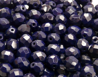 25pcs Czech Fire-Polished Faceted Glass Beads Round 8mm Opaque Sapphire