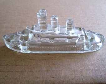 Vintage Glass Battleship Candy Container, WWII Miniature Glass Battleship, Jeannette Glass, Clear Glass Battleship, American Candy Company