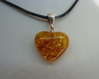 Genuine Baltic amber heart pendant