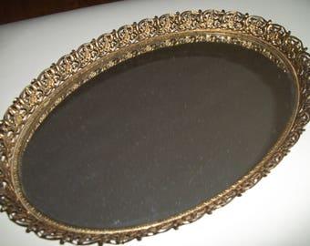 Gold Mirror Tray, Vintage Mirror Tray, Serving Tray,, Midcentury Bar Tray, Vanity Tray, Hollywood Regency Decor