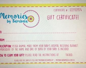 Gift Certificate for Teddy Bear or Teddy Bunny
