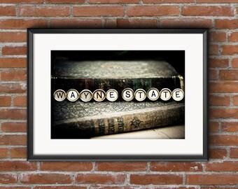 WAYNE STATE Vintage Typewriter Keys Fine Art Photographic Print on Metallic Paper