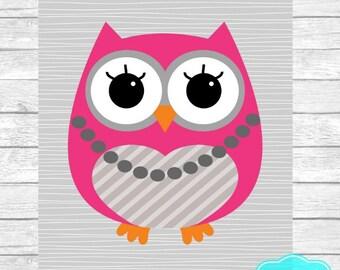 INSTANT DOWNLOAD Owl Wall Art Digital Print ~ Baby Girl Room Decor ~ Nursery Wall Art ~ Pink Grey Charcoal ~ Digital Download