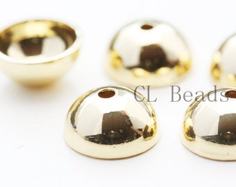 10pcs Shiny 16K Gold Plated Bead Cap - 10mm (1712C-U-63)