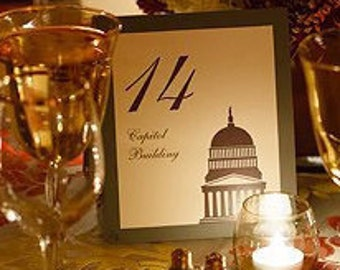 Washington DC Table Number Wedding Decor City Landmarks Reception Signage Card