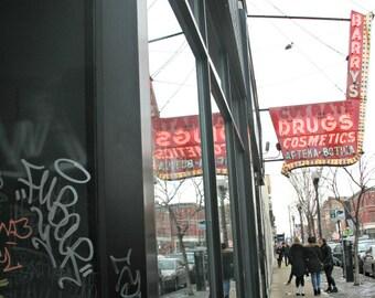Chicago Photo, Wicker Park, Milwaukee Avenue, vintage neon sign, Barry's Drugs, cosmetics, street photography, Chicago Art, graffiti, city