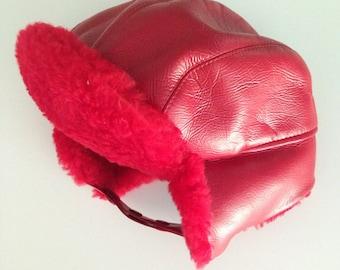 Vintage 1950s Red Vinyl Trapper Winter Hat S