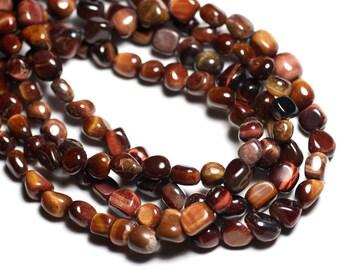 10pc - Perles de Pierre - Oeil de Tigre et Taureau Nuggets 7-10mm - 4558550081957