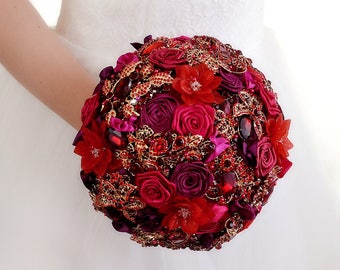 Bridal Ruby Bouquet Red Wedding Bouquet Red Brooch Bouquet Wedding Dress Wedding Jewelry For Brides Bouquet Flowers Wedding Ring Red Bouquet