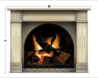 N1239A Fireplace vinyl sticker 127 cm (50 in.)/ H -97(38.2 in.)