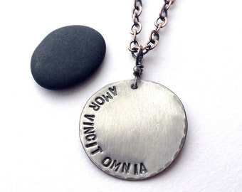 Amor Vincit Omnia heavy gauge sterling silver pendant - made to order