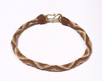 Pure Vicuna Handspun Hand Braided Kumihimo Bracelet, 18k Gold Clasp