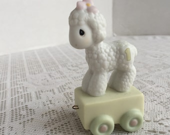 Precious Moments Lamb Figurine Vintage Porcelain /Miniature Baby's First Birthday